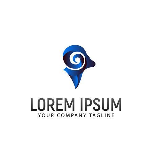 modelo de conceito de design de logotipo moderno de cabeça de ovelhas vetor