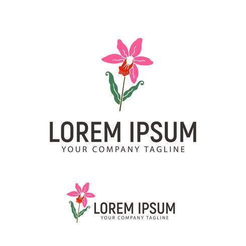 modelo de conceito de design de logotipo de mão desenhada flor vetor