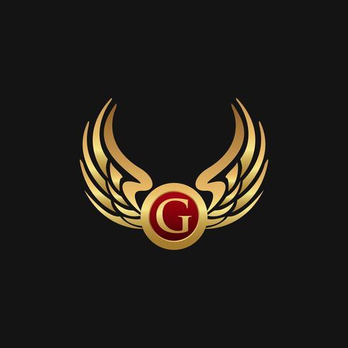 Modelo de conceito de design de logotipo de luxo letra G emblema asas vetor