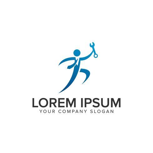 business people with wrench Modelo de conceito de design de logotipo vetor