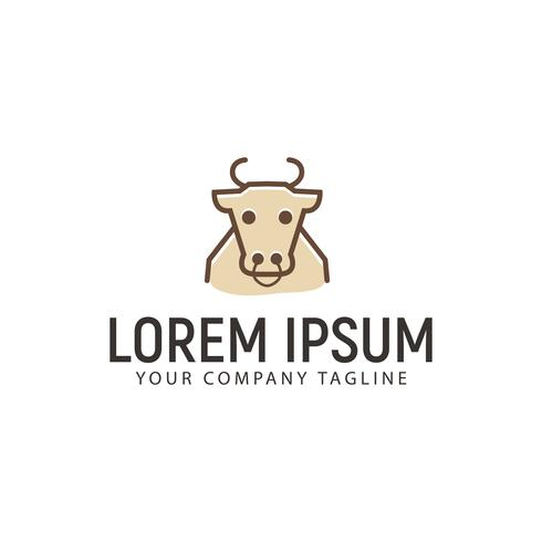 Modelo de conceito de design de logotipo de contorno de vaca vetor