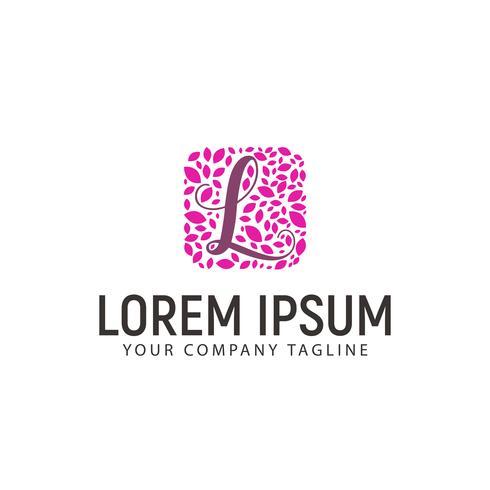 Letra L com logotipo de decoração de folha. concep do projeto da beleza do casamento vetor