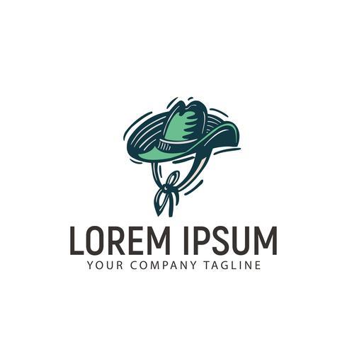 modelo de conceito de design de logotipo desenhado de mão retrô de chapéu coboy vetor