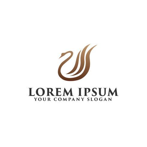 cisne de luxo modelo de conceito de design de logotipo vetor
