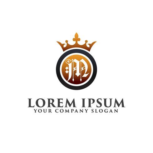 Carta de luxo M com coroa Modelo de conceito de design de logotipo vetor