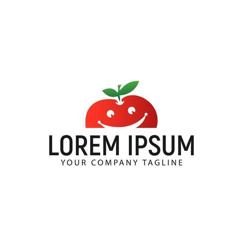 modelo de conceito de design de logotipo de fruta de maçã de sorriso vetor
