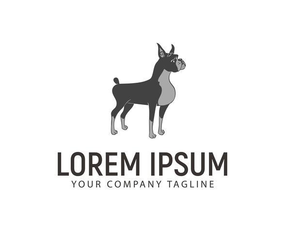 Fique logo do cão. modelo de conceito de design de logotipo de cão de estimação vetor