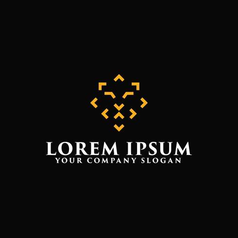 modelo de conceito de design de logotipo de leão de linha moderna vetor