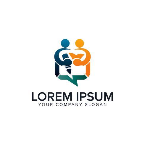 modelo de conceito de design de logotipos de pessoas de educação vetor