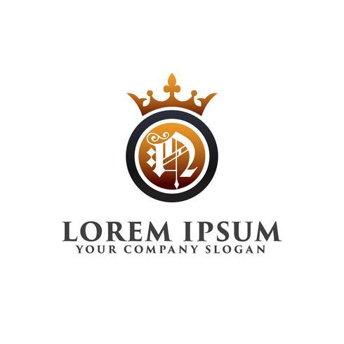 Carta de luxo N com coroa modelo de conceito de design de logotipo vetor