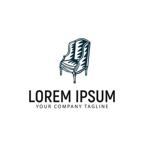 Modelo de conceito de design de logotipo antigo mão desenhada cadeira vetor
