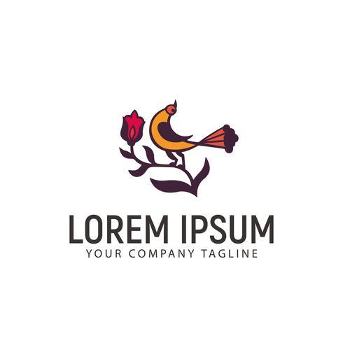 modelo de conceito de design de logotipo de pássaro e flor vetor
