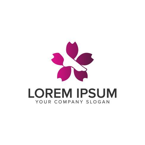 modelo de conceito de design de logotipo médico farmácia flor de perna. fu vetor