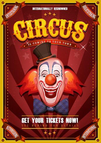 Cartaz de circo vintage com cabeça de palhaço vetor