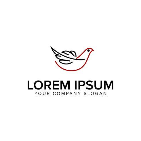 modelo de conceito de design de logotipo de arte de linha de pássaro vetor