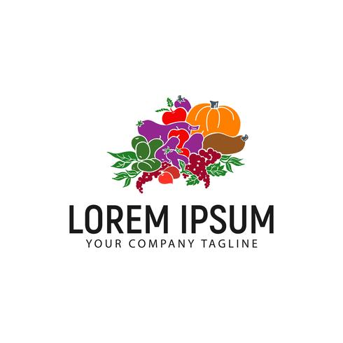 modelo de conceito de design de logotipo de legumes vetor
