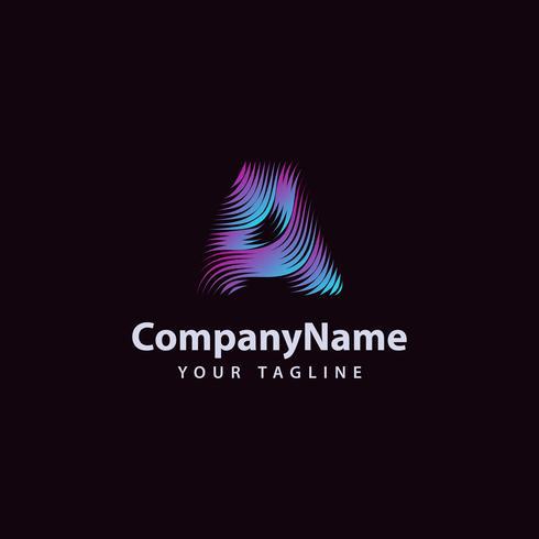 Carta um modelo de design de logotipo moderno linha de onda. vetor