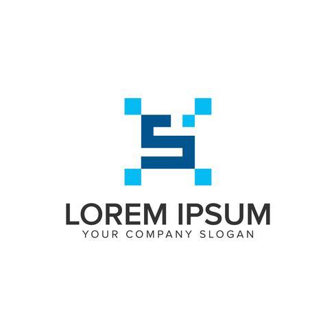 modelo de conceito de design de logotipo de pixel letra S. vetor