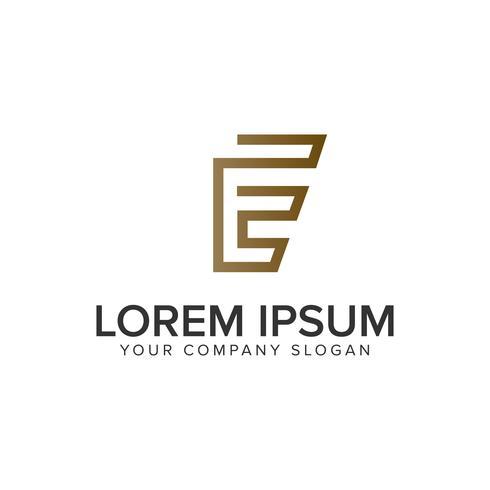 Modelo de conceito de design de logotipo minimalista linha E letra de luxo. vetor