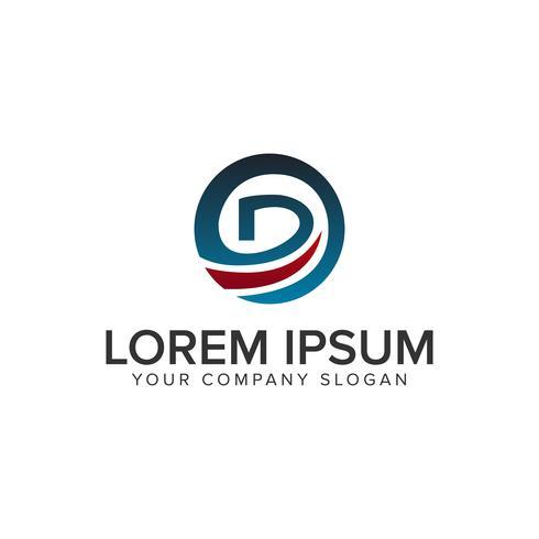 Modelo de conceito de design de logotipo letra D círculo. vec totalmente editável vetor