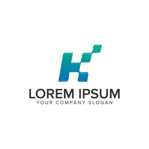 Modelo de conceito de design de logotipo letra K pixel. vect totalmente editável vetor