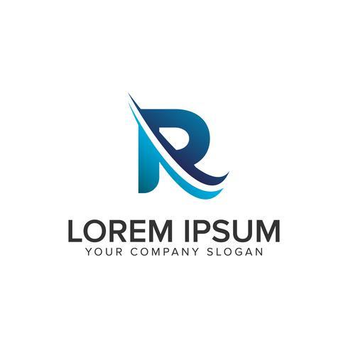 Modelo de conceito de design de logotipo moderno Cative letra R. editar completamente vetor