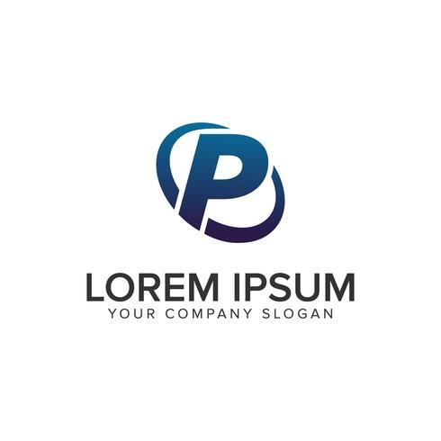 Modelo de conceito de design de logotipo moderno criativo letra P. totalmente ed vetor