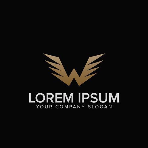 Modelo de conceito de design de logotipo letra W asas. vect totalmente editável vetor