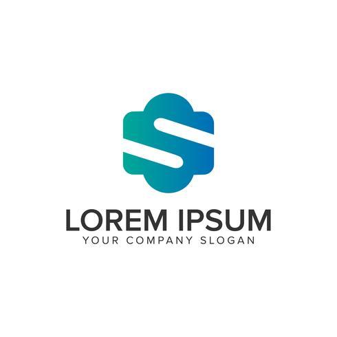Modelo de conceito de design de logotipo minimalista letra S. totalmente editável vetor