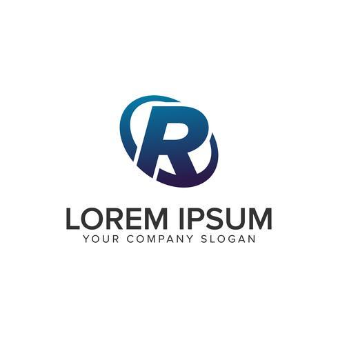 Modelo de conceito de design de logotipo moderno criativo letra R. totalmente ed vetor
