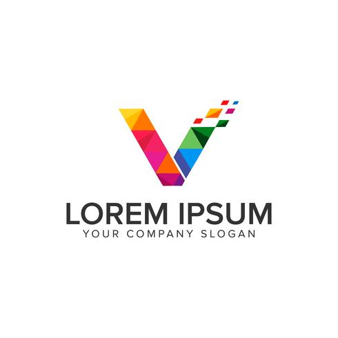 modelo de conceito de design de logotipo letra v mídia. vetor