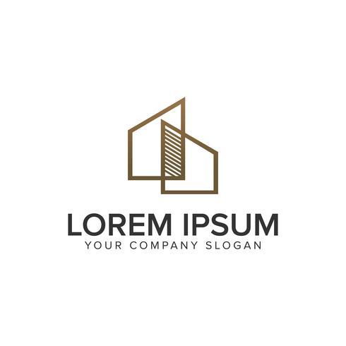 Modelo de conceito de design de logotipo imobiliário minimalista. vetor