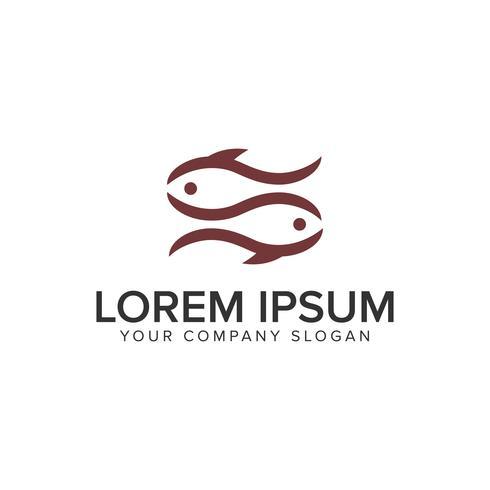 Casal peixe logotipo design conceito modelo. vetor