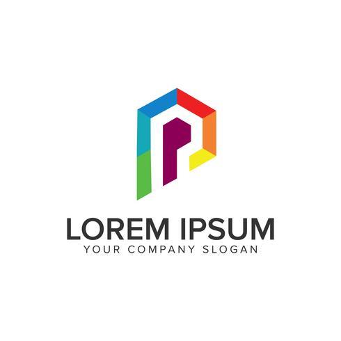 modelo de conceito de design de logotipo moderno letra p de coloração. vetor