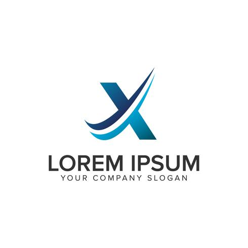 Modelo de conceito de design de logotipo moderno Cative letra X. editar completamente vetor