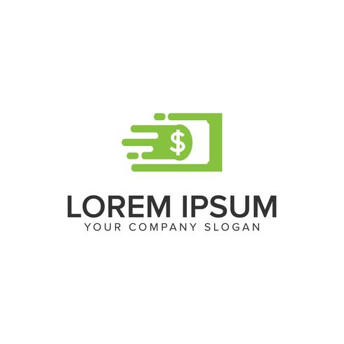 Modelo de conceito de design de logotipo rápido de dinheiro. vetor