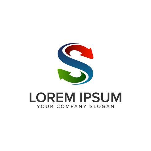 Modelo de conceito de design de logotipo de saída de letra S. totalmente editab vetor