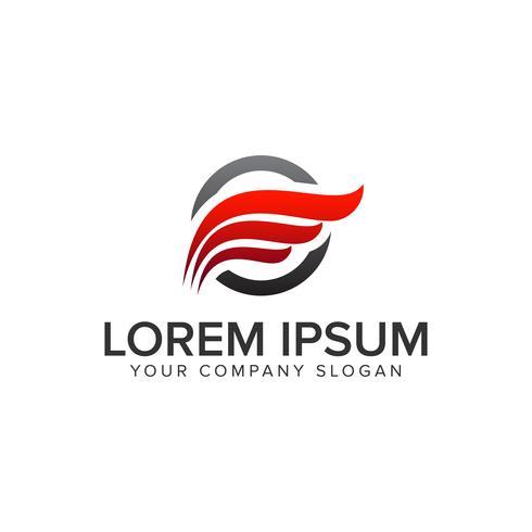 Modelo de conceito de design de logotipo de asas vermelhas. vetor totalmente editável