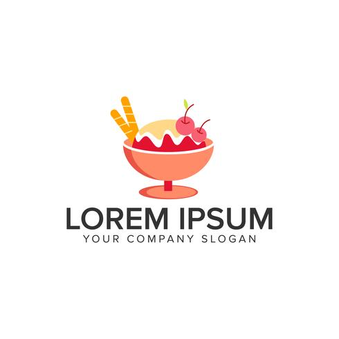 Modelo de conceito de design de logotipo de sorvete. vetor