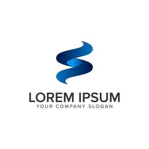 Modelo de conceito de design de logotipo moderno letra S. 3D. totalmente editável vetor