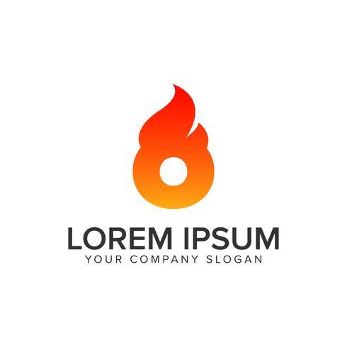 letra O modelo de conceito de design de logotipo de chama de ignição. editar completamente vetor