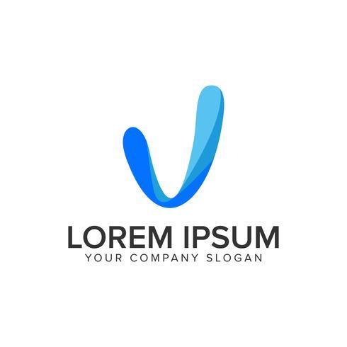 modelo de conceito de design de logotipo moderno letra V. vec totalmente editável vetor