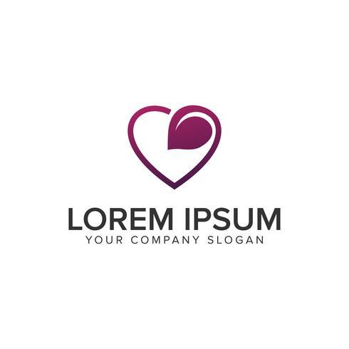Modelo de conceito de design de logotipo de folha de amor. vetor totalmente editável