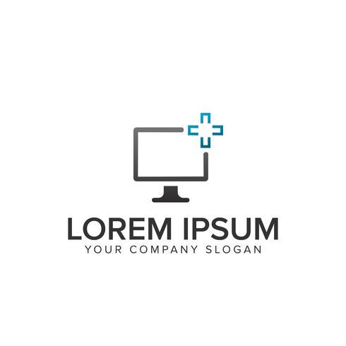 logotipo de servidor de tela de computador vetor