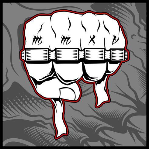 Punhos de homem cerrados com tatuagem de vida bandido segurando juntas de bronze - Vector