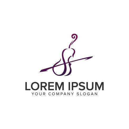 modelo de conceito de design de logotipo de violino. vetor totalmente editável