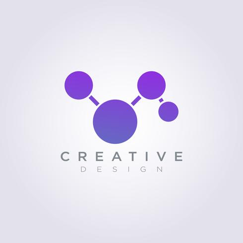Design de logotipo vetor símbolo ícone bola círculo tecnologia Molecular