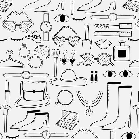 Padrão Com Mão Desenhada Fundo De Elementos De Design De Moda. Ilustração vetorial artesanal. vetor