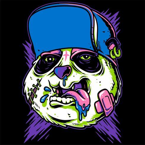 desenho de mão de panda louco vector