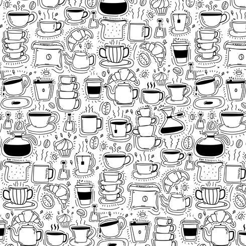 Padrão Com Linha Mão Desenhada Doodle Café Fundo. Doodle engraçado. Ilustração vetorial artesanal. vetor